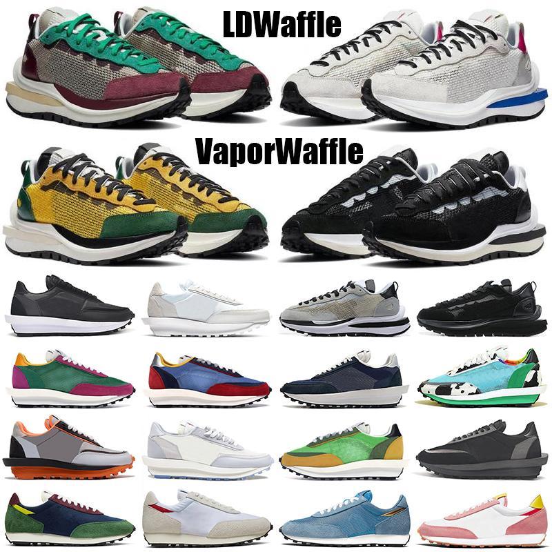 sacai ldv حذاء رياضي للركض في الهواء الطلق ldv waffle vaporwaffle فجر النهار للرجال والنساء ثلاثي أسود أبيض نايلون الصنوبر الأخضر حذاء رياضي رجالي