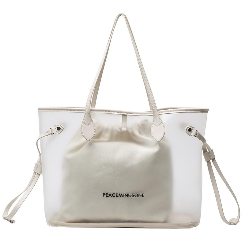 토트 백 여성 2021 봄과 여름 도시 트렌드 플라스틱 투명 편지 한국어 패션 그림 - 어머니 어깨 가방