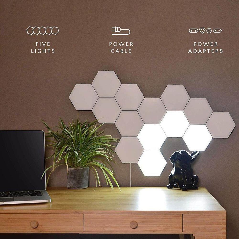 BEAFUP 1-65 Peças DIY Lâmpada de Parede Switch Toque Quantum LED Lâmpadas Hexagonal Decoração Criativa Modular Night Light Hexágonos para casa