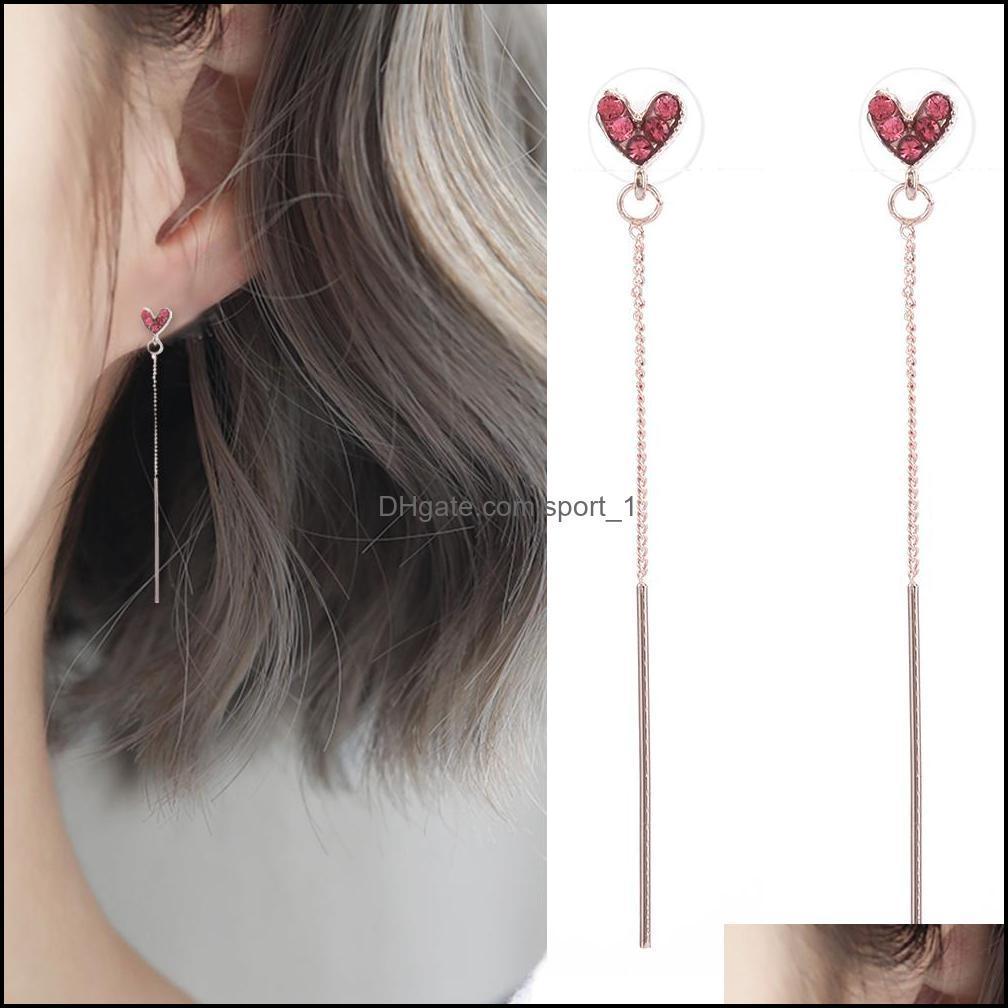 & Chandelier Jewelryearrings For Women Simple Red Love Heart Tassel Female Long Dangle Hoop Earrings Fashion Jewelry Pendant Womans Aesories