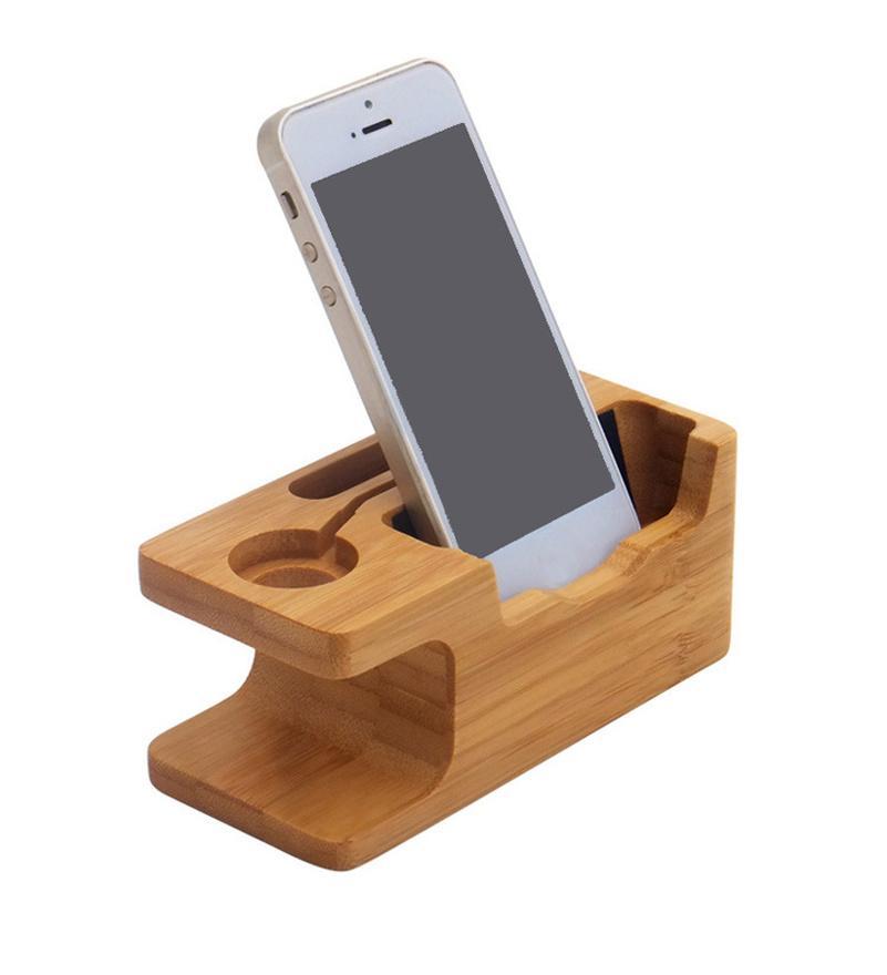 Bamboo Wood 2 in 1 Holder Caricamento Dock Desktop Desktop Station Stazione in legno supporto per telefono cellulare supporto supporto per accessori per iPhone