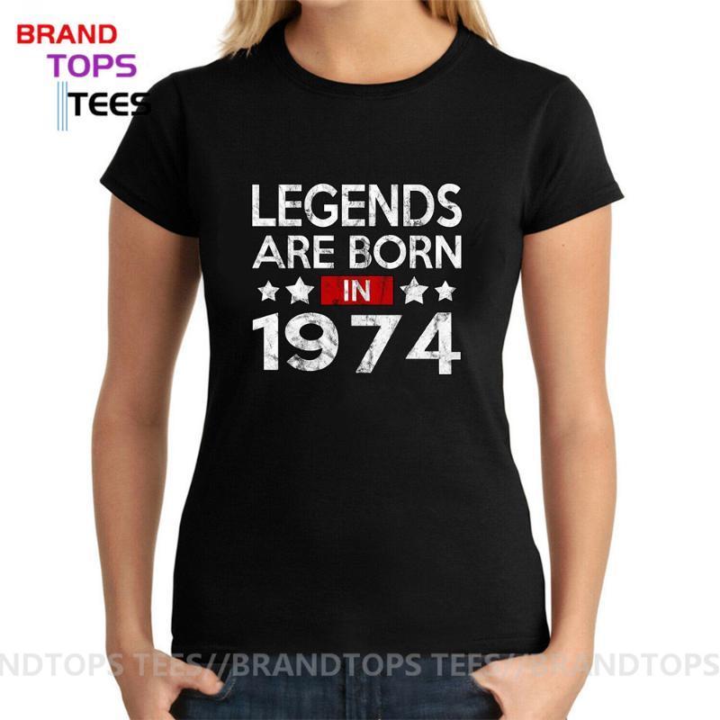 1974 년 T 셔츠에서 만든 빈티지 전설은 티셔츠 레트로 어머니의 생일 선물 고품질 100 % 정통 티 여성
