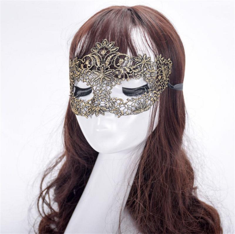2018 Nuevo encaje sexy media cara máscaras de barras para las mujeres Lady Girl Mascarada Navidad Bola de Navidad Disfraz de Halloween Funda de fiesta 381 V2