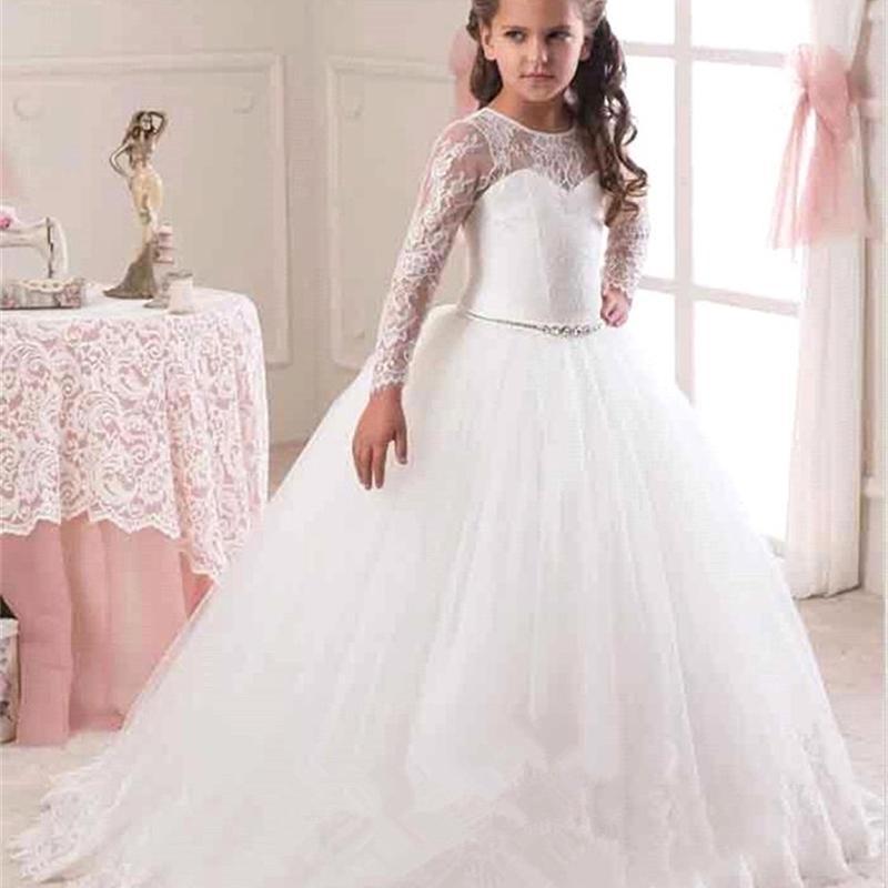 Для свадебных и партийных платьев вечером Рождественская девушка длинный костюм принцесса дети причудливые 4-14T детские невесты кружева платье для девочек 210322