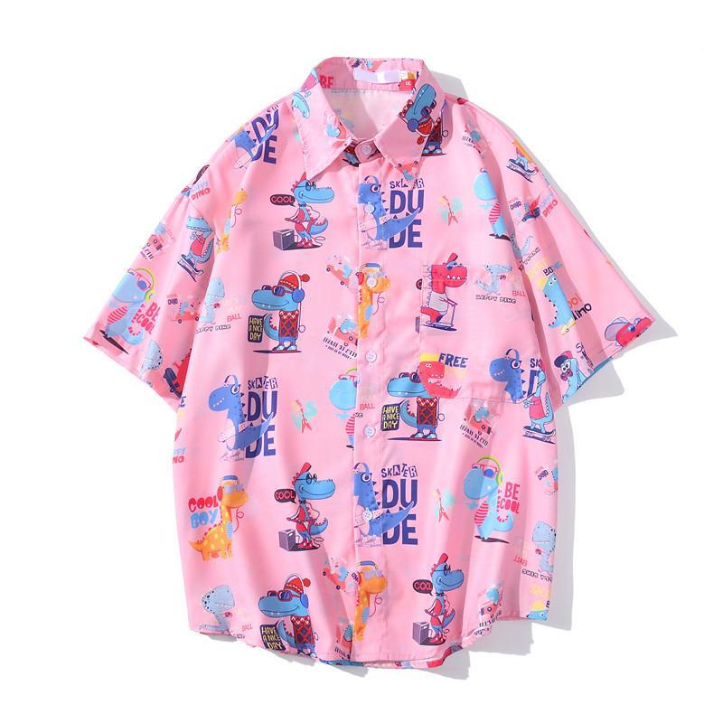 5Colors Cartoon Imprimé Street Shirts Hommes 2020 Été Chemise Homme Hawaiian Chemise Homme
