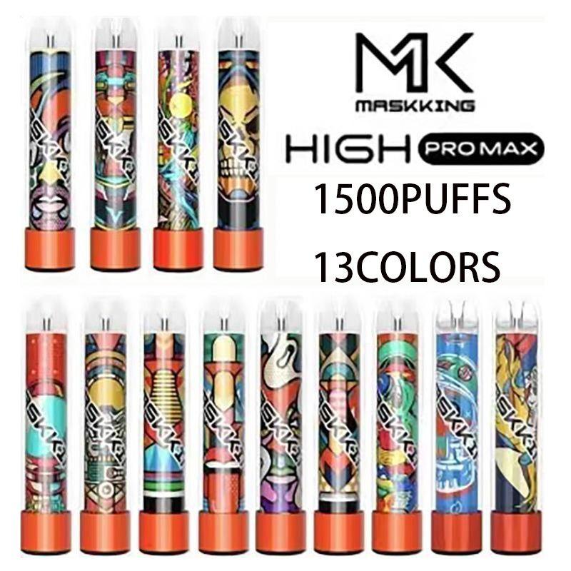Masking Yüksek Pro Max Tek Kullanımlık Vape Elektronik Sigaralar 1500 Puffs 4.5ml Kartuş Kullanıma Hazır Şeffaf Ağızlık 13 Renkler Buharları Toptan