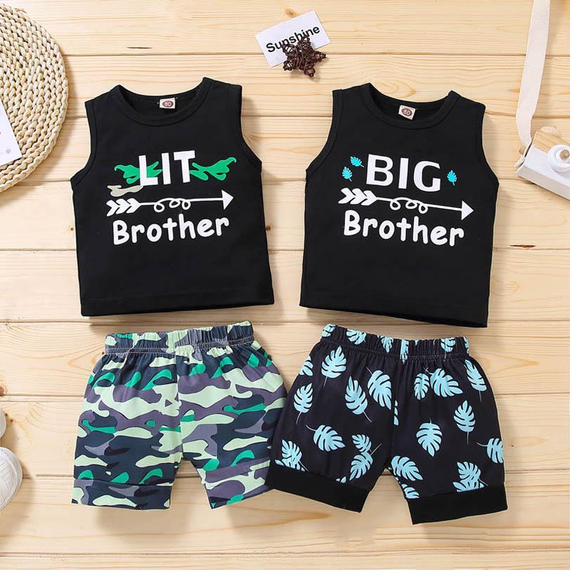 Baby Clothing Sets Boy Suit Boys Kids Wear Summer Cotton Casual Tank Tops Pants Shorts 2Pcs Infant 0-3Y B4877