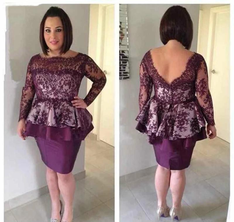 2021 Mor Kısa Kısa Anne Gelin Elbiseler Aplikler Uzun Kollu Örgün Godluk Akşam Düğün Parti Misafirleri Abiye Artı Boyutu Elbise