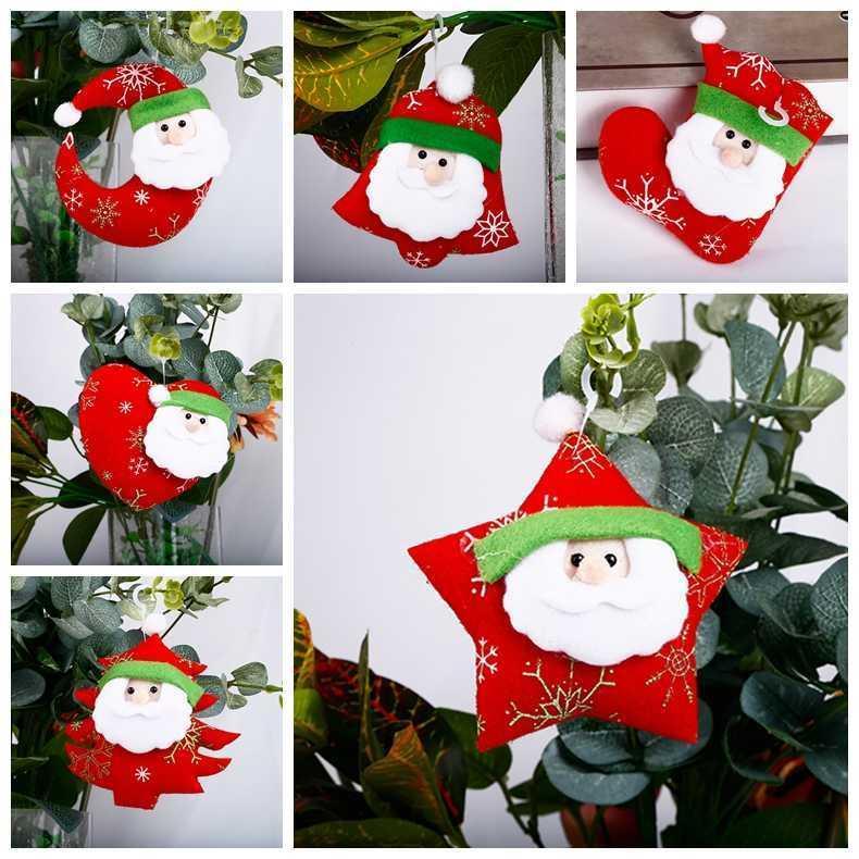 6 Arten Frohe Weihnachten Santa Claus Ornament Moon Bell Fünfzeige Stern Weihnachtsbaum Hängen Anhänger Neues Jahr Home Party Urlaub GWD10474