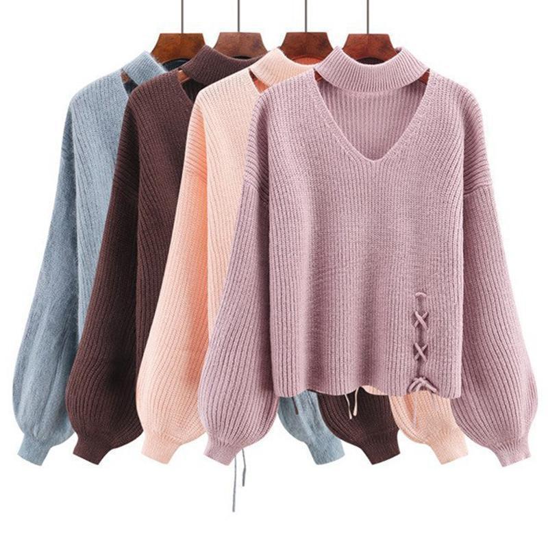 Autunno e inverno nuovo maglione da donna maglione solido maglione da donna pullover tondo manica lunga manica lunga moda calda