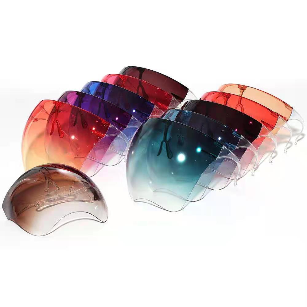 Color de gradiente Máscara de fábrica protectora con marco de vidrios Transparente Cubierta de cara completa Anti-niebla Face Shield Clear Designer Máscaras CPA2735