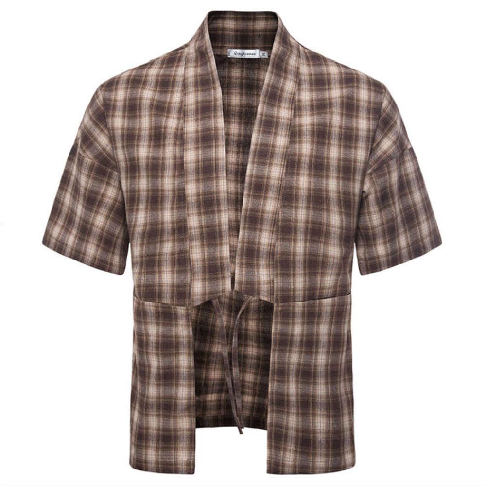 Мужская клетчатая рубашка лето новая мода свободный хип-хоп уличная одежда с короткими рукавами рубашка повседневная тенденция пляжных топов