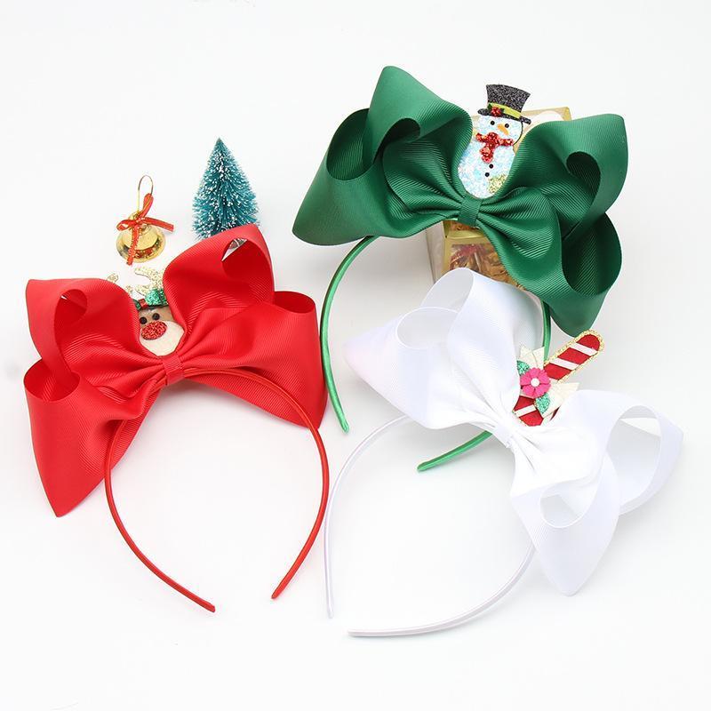 15pcs 패션 Grosgrain 활 헤어 밴드 반짝이 순록 산타 사탕 지팡이 하드 헤드 밴드 크리스마스 모자웨어 부티크 헤어 액세서리