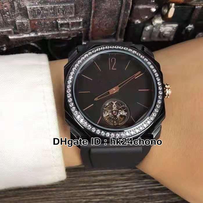 41mm Octo FINISSIMO 102373 BGO40PDLXT MIYOTA Reloj automático de los hombres 102401 Diamond Bezel PVD Black Steel Case Tourbillon Gents Deporte Relojes de goma Correa de goma