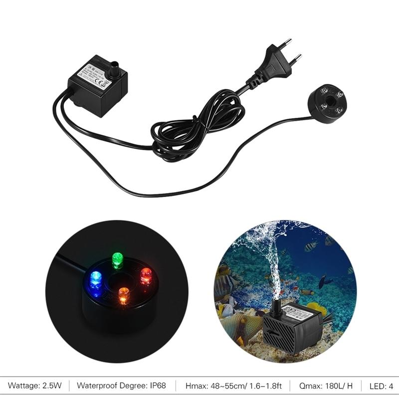 180L/H 2.5W Submersible Water Pump with 4 LED Light Ultra Quiet for Pond Aquarium Fish Tank Tabletop Fountain Hydroponics Y200922