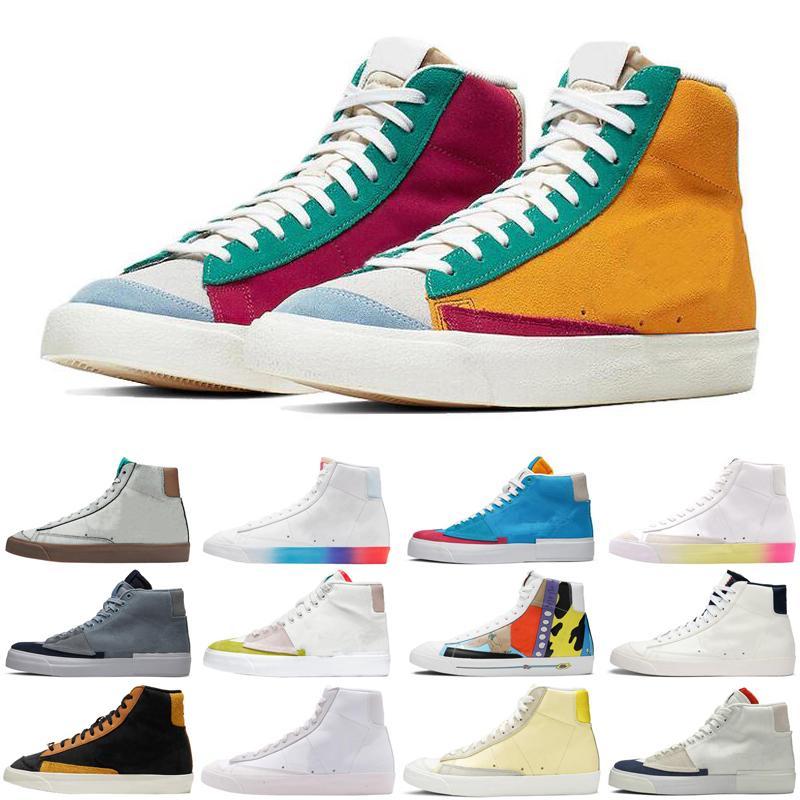 2020 Nova Chegada Blazer Meados 77 Vintage Edge Homens Mulheres Sapatos Multi Flyleather Orange Aqua SB Ao Ar Livre Mens Trainers Womens Sports Sneakers