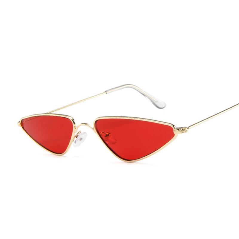 Retro gato ojo gafas de sol mujeres marco de metal gafas de sol femenino masculino moda marca claro espejo pequeño triángulo