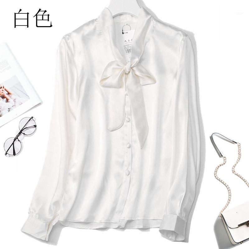 Kadın 100% Saf Ipek Saten Katı Renk Gömlek Üst Bluz Kravat Yay Boyun Düğmeleri Ofis İşi M l JN0521