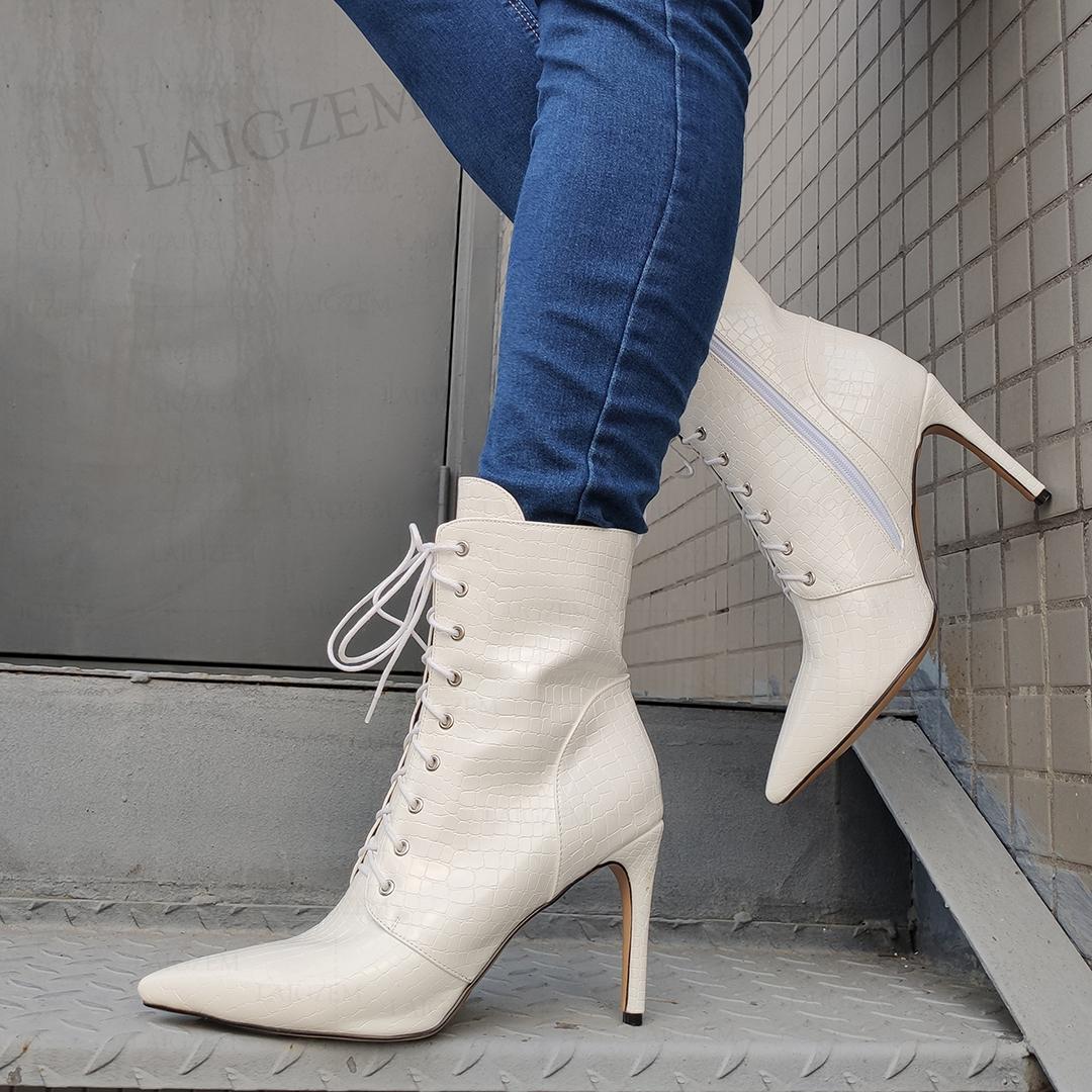 LAIGZEM Women Ankle Boots Side Zip Pointed Toe Shoeslace Thin High Heels Short Boots Ladies Shoes Woman Shoes Big Size 39 44 48