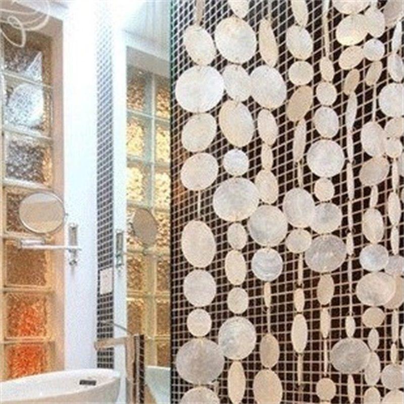 Perde Doğal Kabukları Kirliliği-Ücretsiz Perdeleri Kapalı Bölüm Dekoratif Rüzgar Çanları Perdeleri Otel Dekorasyon Kapı Perdeleri 769 R2
