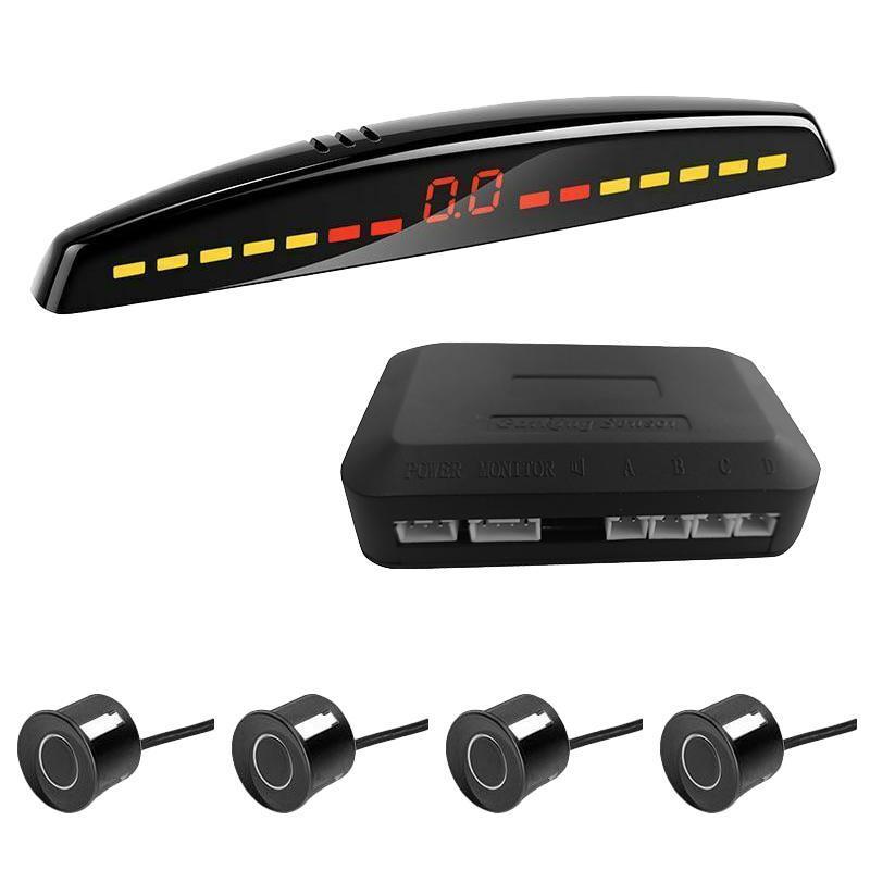 Sensor de aparcamiento LED del automóvil Detector de automóviles Parktronic Display Sistema de monitor de respaldo inversa con 4 sensores negros Cámaras de vista trasera