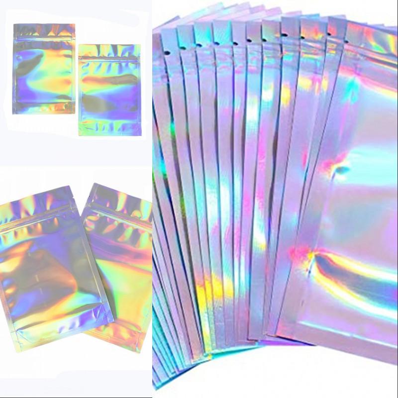100 Parça Sıfırlanabilir Koku Geçirmez Çanta Folyo Kılıfı Çanta Düz Lazer Renk Paketleme Çantası Parti Favor Gıda Depolama Holografik Renk 150 S2