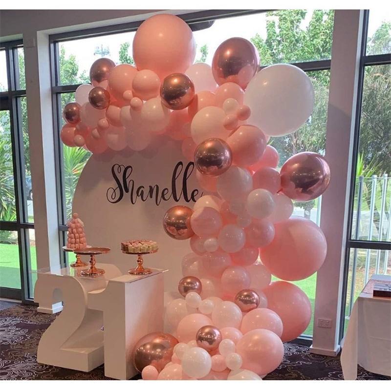 101pcs / satz Pastell Rose Gold Rosa Ballon Girlande Bogen Kit Jubiläum Geburtstag Party Dekorationen Ballon Erwachsene Baby Dusche Mädchen 339 S2