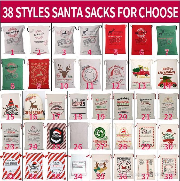 قماش عيد الميلاد سانتاس حقيبة كبيرة الرباط الحلوى كلوز أكياس عيد الميلاد هدية سانتا أكياس للمهرجان الديكور