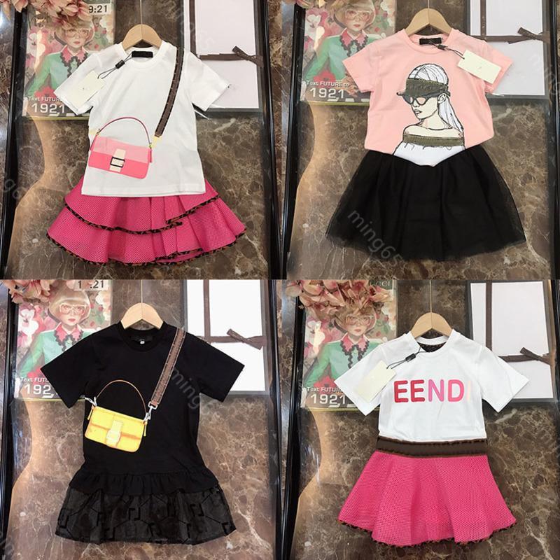 2021SS FEN und DI Baby Kleider Kleid Sets FF Marke Babyde Mädchen Designer Kleider Mode Designer Kleidung Kinder Baumwolle T-shirt Spitze Rock Zweiteiler Anzug