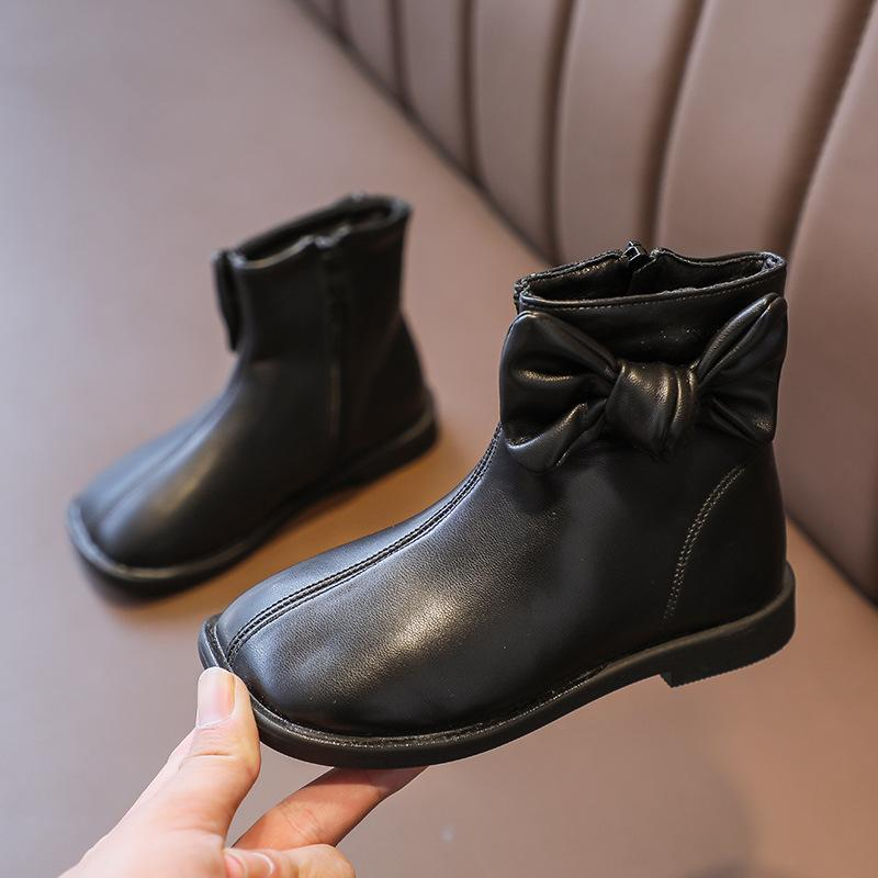 Boots Child Ankle With Bow-knot Girls Leather Toddlers Little Kids Princess Sweet Warm Cotton Autumn Winter Brand