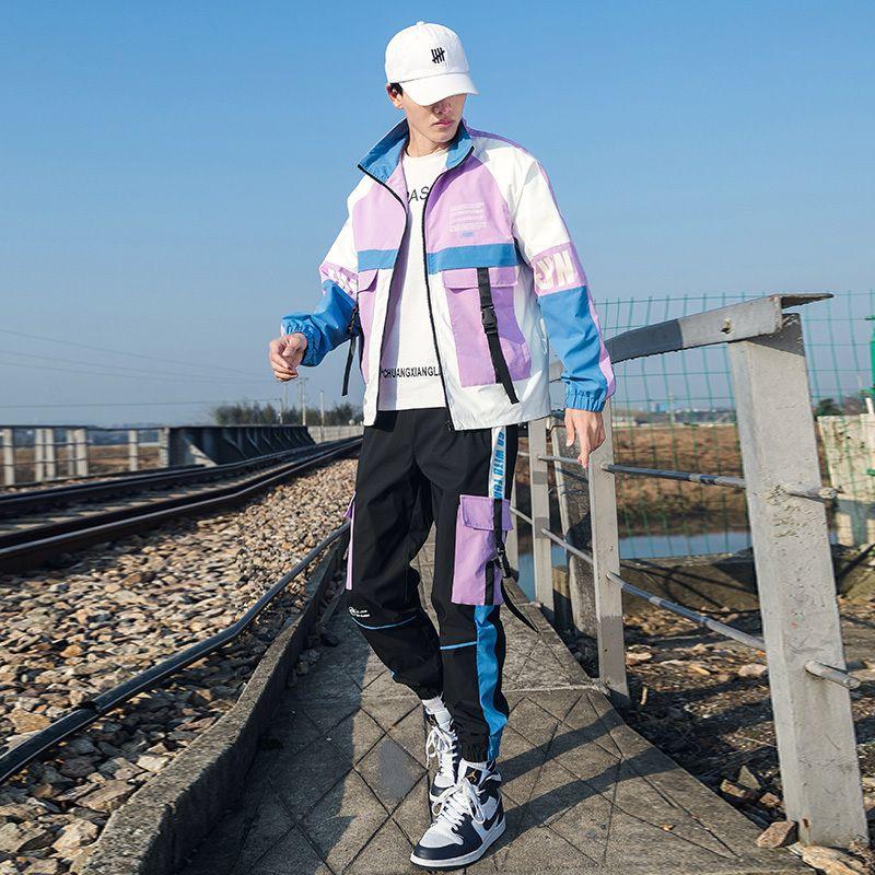 Streetwear erkek Eşofman Seti Kurdela Ceketler ve Mont İki Adet Setleri 2021 Yeni Hip Hop Erkekler Sweatuit Giyim