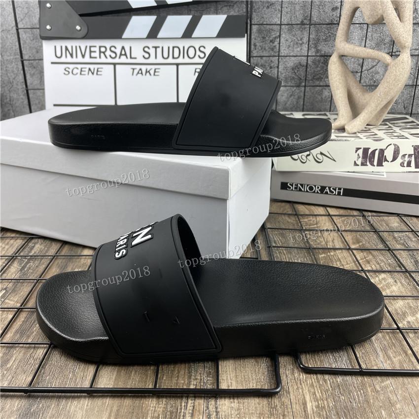파리 남성 여자 여름 샌들 비치 슬라이드 홈 슬리퍼 블랙 화이트 플랫 스캔들 슬라이드 패션 거품 러너 신발 패턴 인쇄 고무 샌들 모두 모든 일치 상자