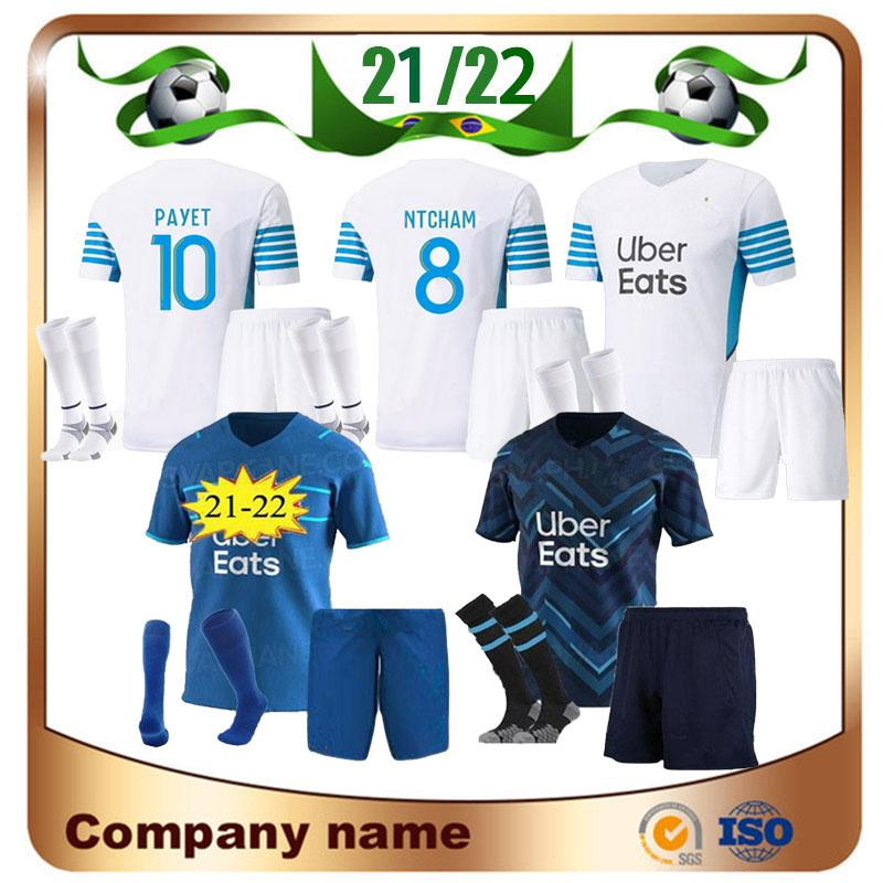21/22 Kit Kit Kit Olympique de Marseille Jersey 2021 Thauvin Payet Om Milik Camisa Benedetto Sanson L.Gustavo Kamara Futebol Uniforme