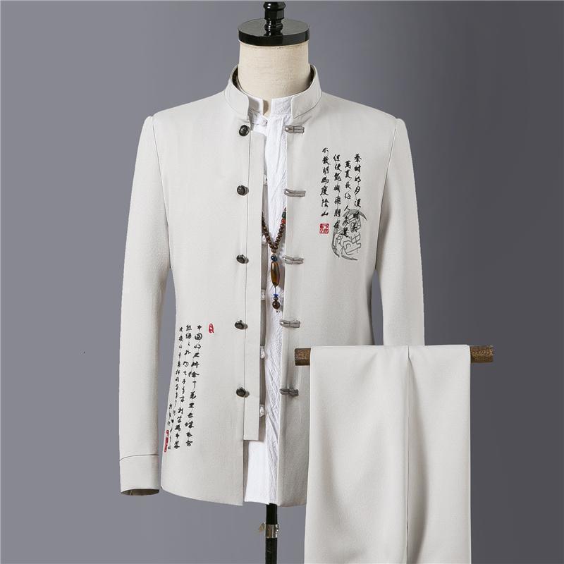 4xl hommes grand tailles de style chinois costume tunique homme veste + pantalon costumes de mariage vintagewear 2pcs bureau usure xxxxl