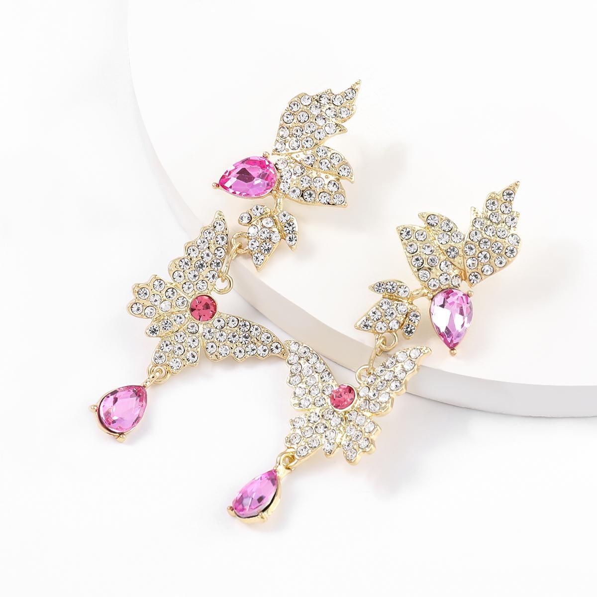 Jijiawenhua nouvelle tendance dames strass papillon forme pendentif boucles d'oreilles dîner fête boucles d'oreilles bijoux