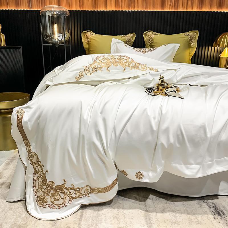 Bettwäsche-Sets Luxury 1000tc Baumwolle Set Stickerei Duvet Cover Flat Blech Kissenbezug 4/6 stücke Bett für Erwachsene
