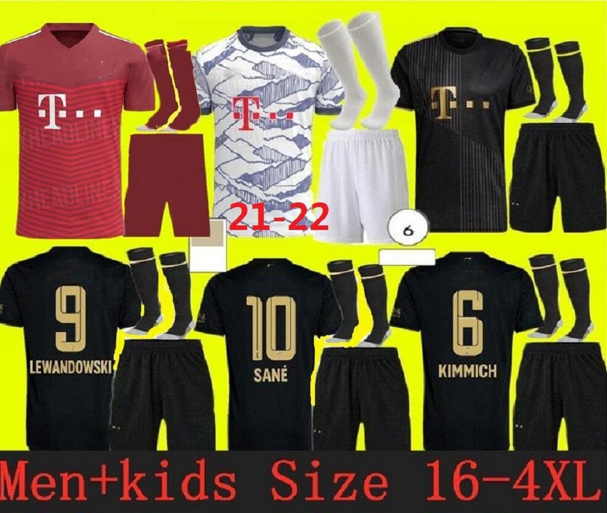 Version du joueur 21 22 Kit de Bayern Munich Soccer Jerseys Lewandowski 2021 2022 Hernandez Coutinho Enfant Uniformes Adulte Ensemble Full Set Football