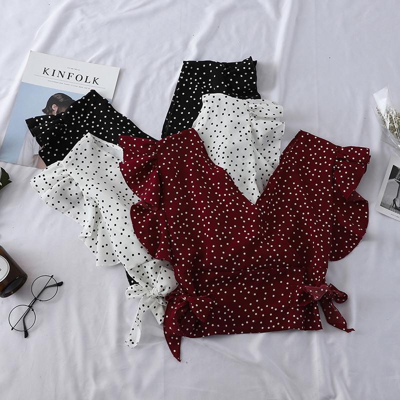 Women's Blouss & Shirts Blusa plissada com stampa d bolinhas cot m v, camista chiffon lástico cintura alta manga curta sxy pz1509, Y8A3