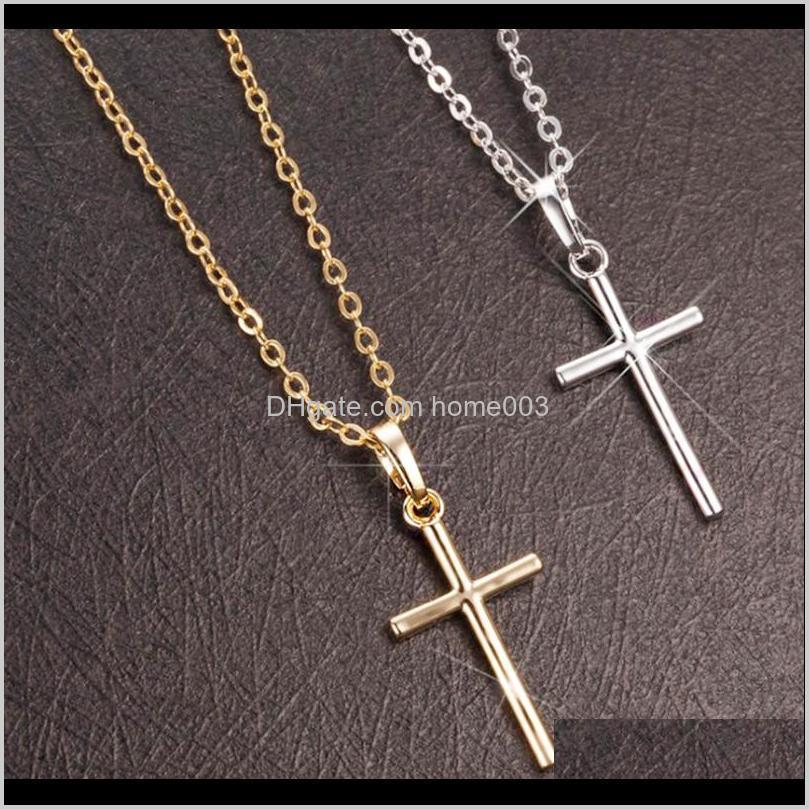 Collar de cadena cruzada de moda simple para mujeres hombres de lujo damas joyas de oro collares collares crucifijo cristiano ornamento regalos n27 v pkxs5