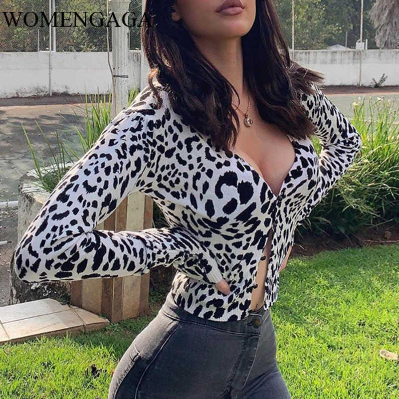 Womengaga Herbst Damenmode Sexy Leoparde Druck Vollarm Cardigan T-shirt Tops für Frauen 0kzs 210603