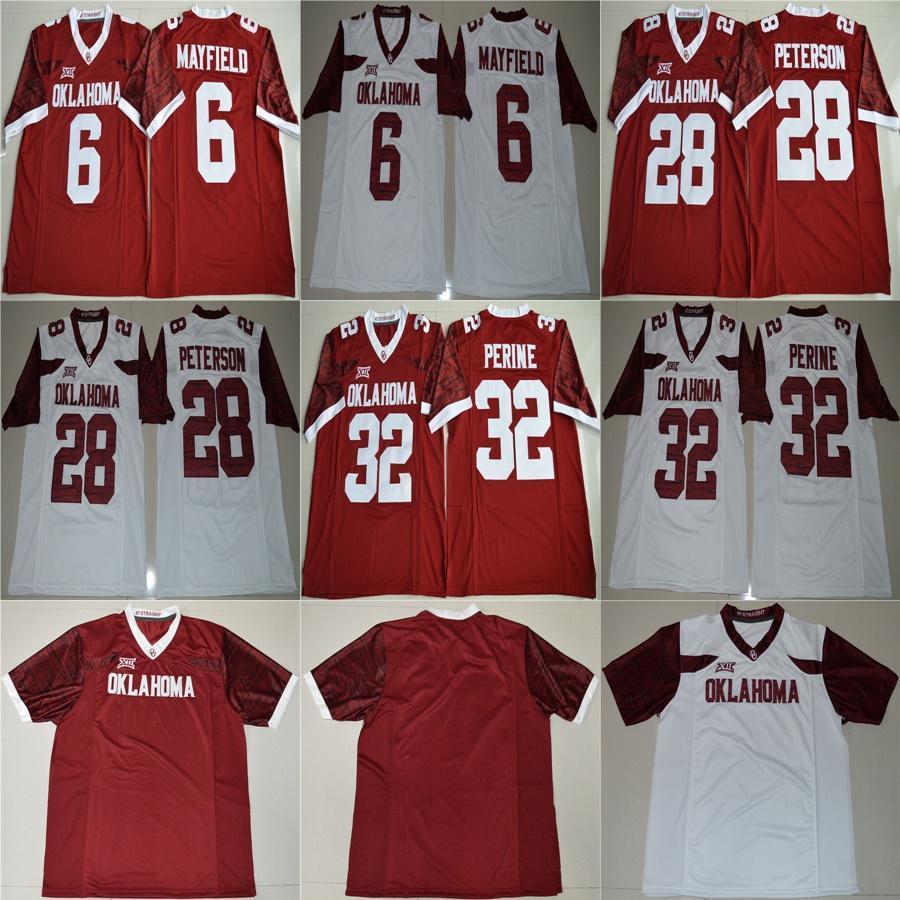 Mens Samaje Perine 32 Baker Mayfield 6 Brian Bosworth 14 Sam Bradford 44 red white Oklahoma Sooners Cheap Stitched College football jerseys