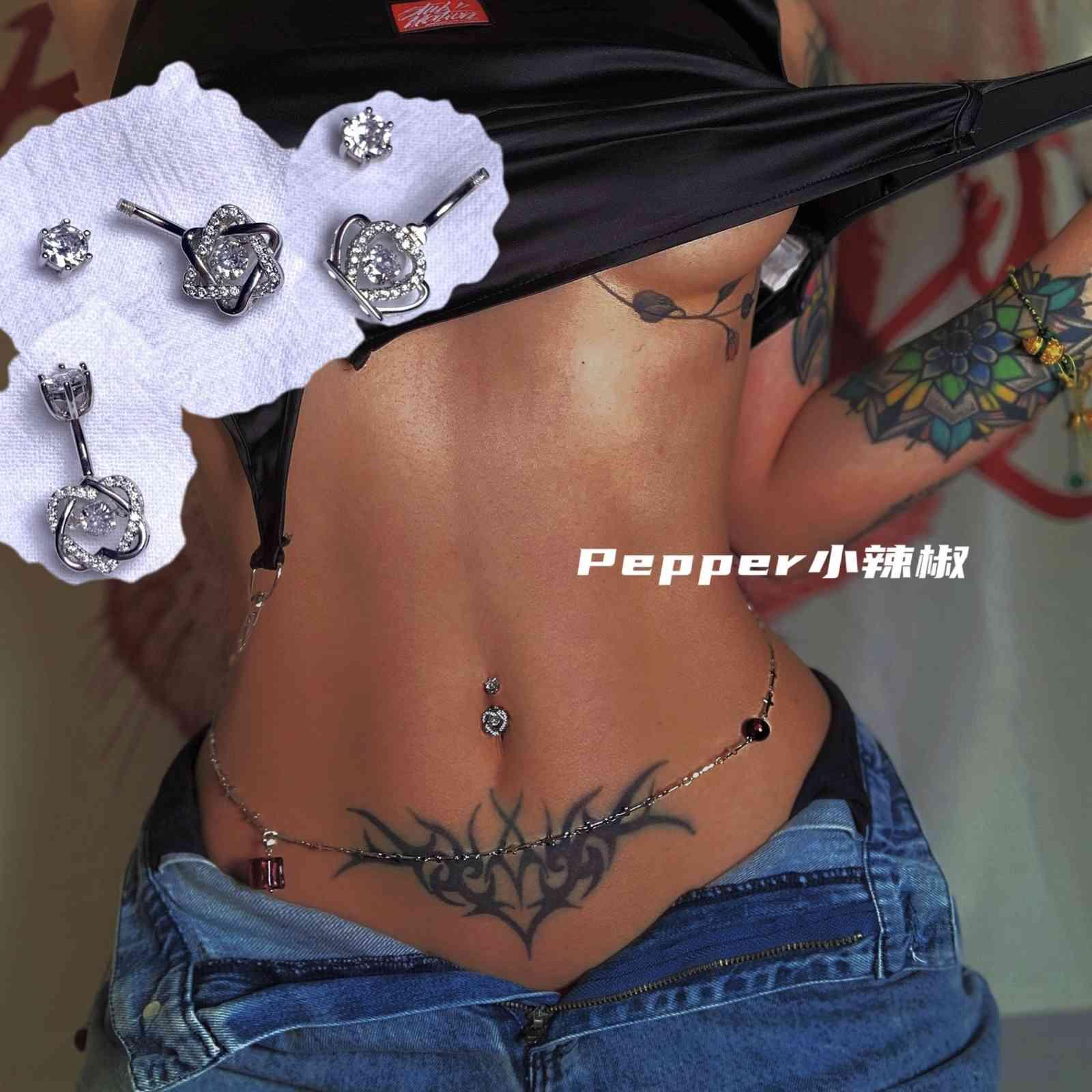 Pepper's movable small NAVEL RING 925 Sterling Silver anti allergy hole nourishing smart navel perforation nai