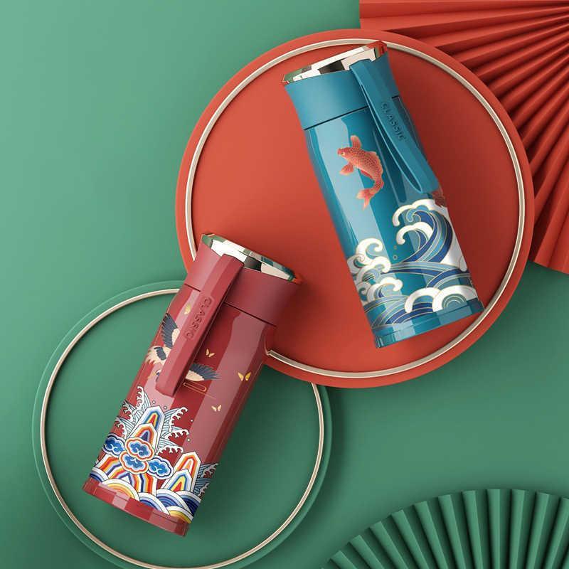 Китайский счастливый вакуумный чашка чайник инфузер маленький термос бутылка воды 304 из нержавеющей стали тумблер путешествия кофе кружки влюбленные подарки 210615