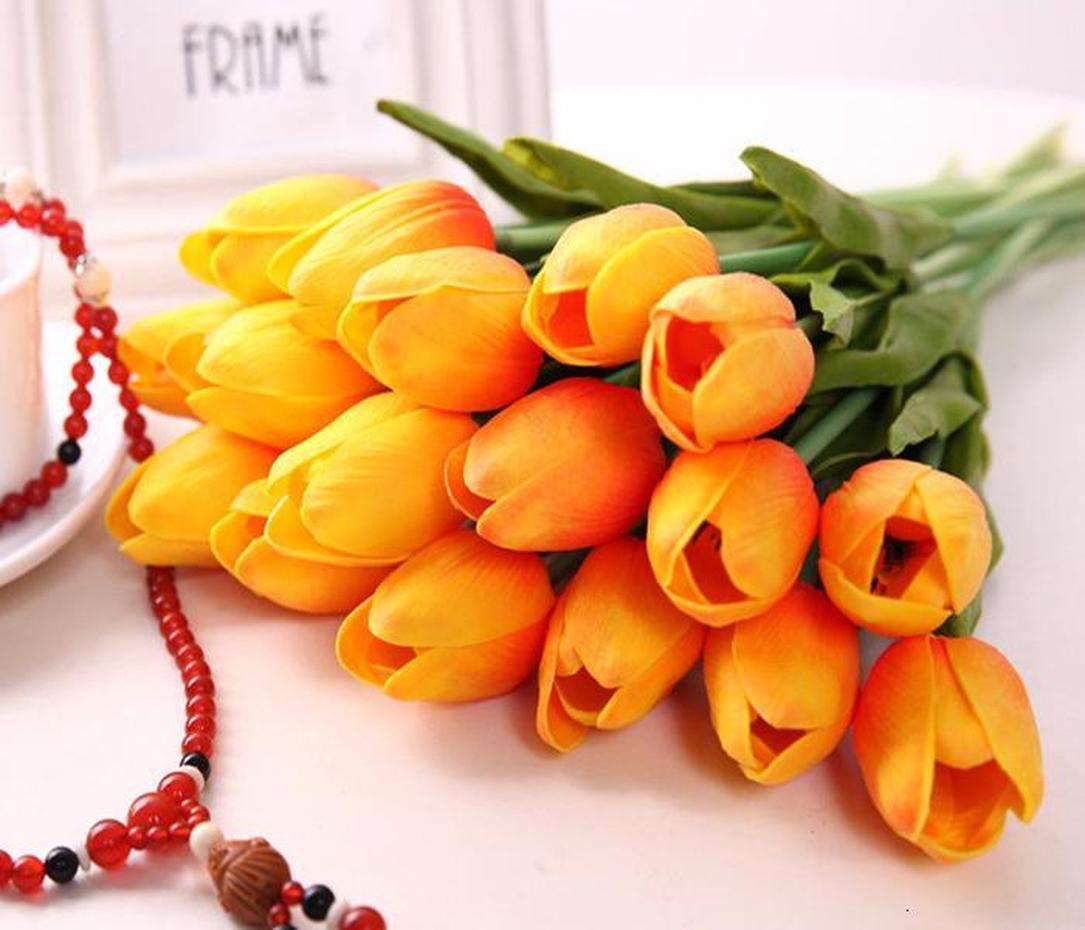 Fleur artificielle PU Latex Bouquet réel Tulips Touch Fleurs pour la décoration de la maison Décoration de mariage décoratif 11 couleurs 50pcs options
