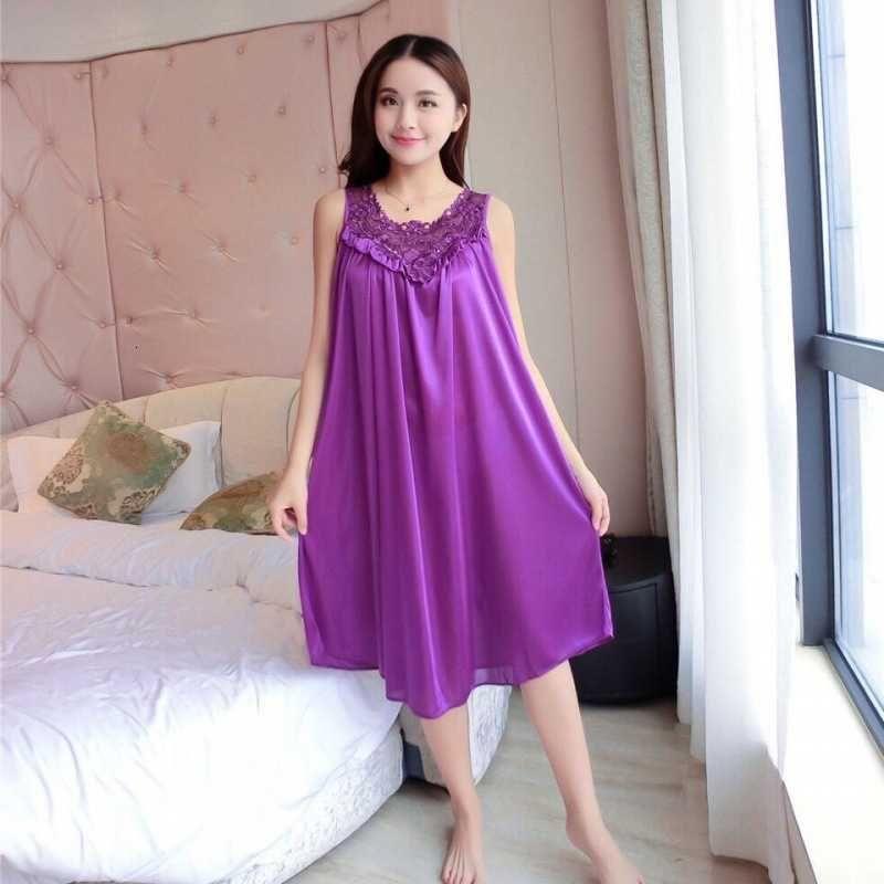 Damen Nachtwäsche Hosenträger Rock Eis Pyjamas Frauen Xiaxin Spitze Nachthemd Sexy Seide dünn übergroße Damen Wohnung Wohnung