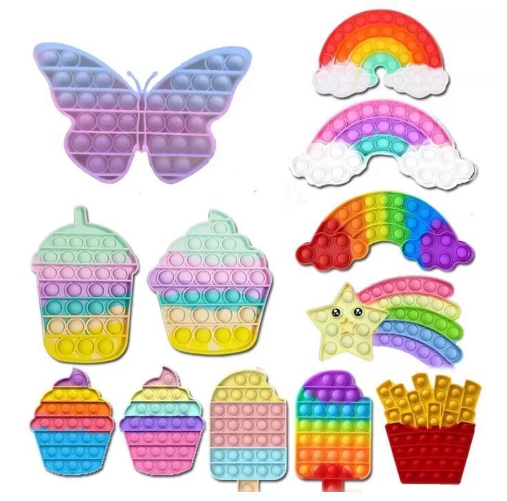 DHL New Butterfly Couleur Changer de couleur adulte Kid Push Bubble Fidget Toys Sensorial Autisme Spécial Besoins Stress Stress Reliever BJ28
