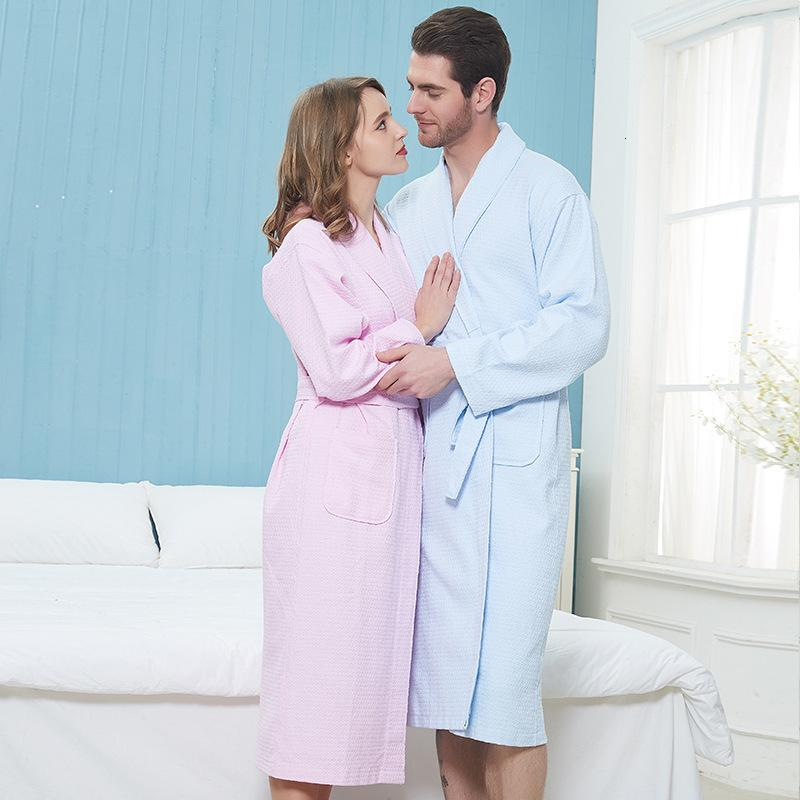 Waffle Pure Cotton Bathrobe Men''s Adult el Couple Bath Towel Spring and Autumn Pure Cotton Beauty Salon Bathrobe