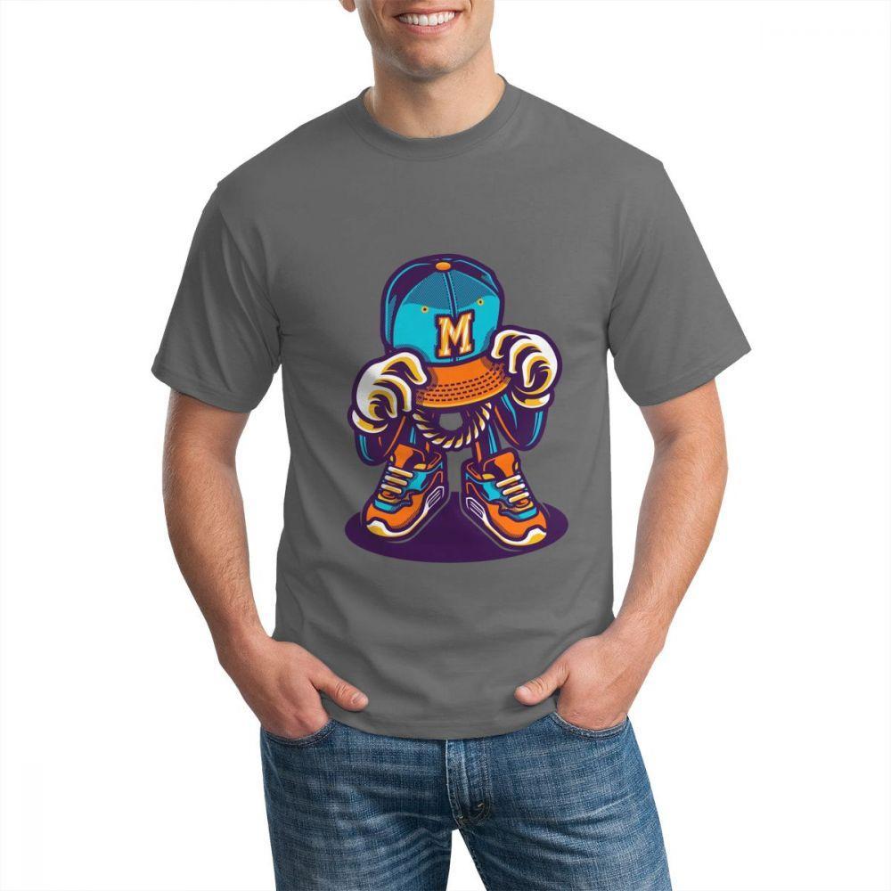 거리 낙서 Tshirt Mens 티셔츠 디자인 스트리트 스타일 인쇄 남성 코튼 티셔츠 O 넥 스웨터 인쇄