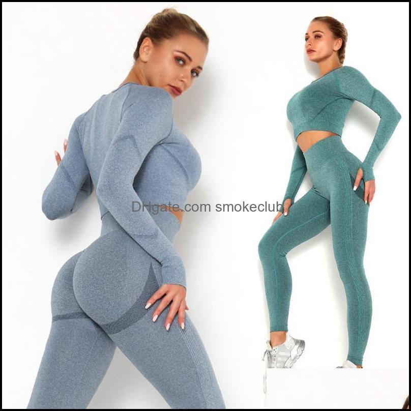 Yoga Suprimentos Outdoorsyoga Outfit Mulheres Conjunto de roupas esportivas Sportswear Fitness Atlético Wear Ginásio Sem Emenda Workout roupas Drop Delive