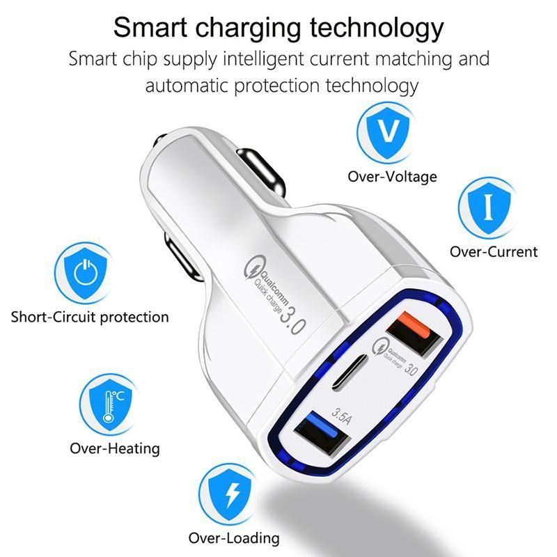 Cargador de automóviles Traver Adaptador Conector Hot Selling Triple 3 Puertos USB Cargador de coche sin paquete
